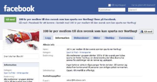 Spurta ner Northug-gruppen på Facebook